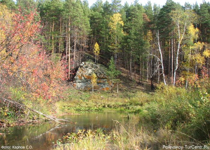 Камень осиновый Гребешок на Западной Чусовой. Фото Карпова С.О.