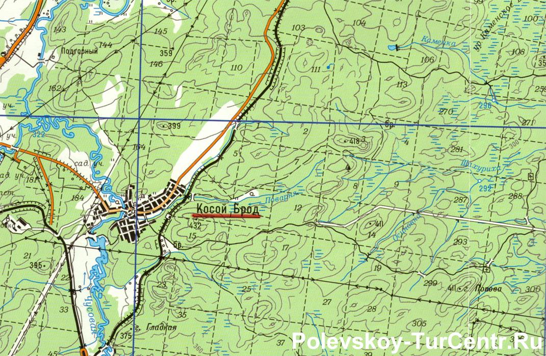 Карта села Косой Брод с