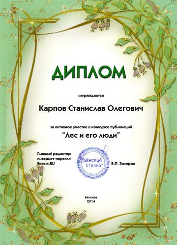 Диплом участника конкурса публикаций 'Лес и его люди' от 14.11.2014 г.