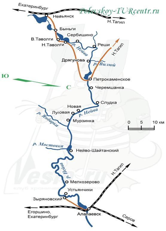 Карта реки Нейва